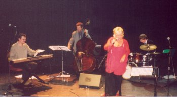 Gill on stage at The Wolsey Studio, Ipswich - April 2002