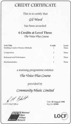 Qualification from The Voice Plus course