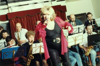 Gill fronting a band of amateur players at The Grand Hotel, Leigh-on-Sea, Essex